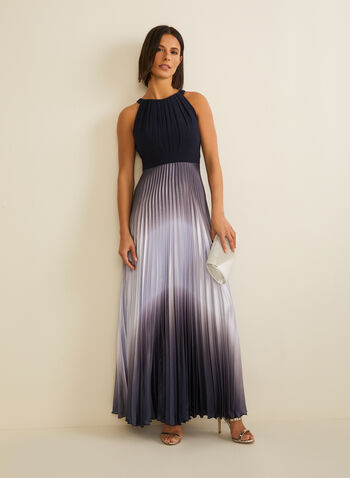 Pleated Ombré Dress, Blue,  spring summer 2020, ombré, satin, jersey, cleo neck, sleeveless