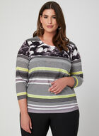 Stripe Print ¾ Sleeve Top, Blue, hi-res