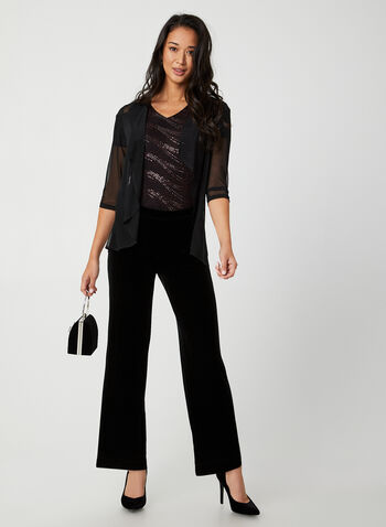 Modern Fit Velvet Pants, Black, hi-res,  Canada, velvet, velour, wide leg, Modern Fit, pants, pull on, elastic waist, fall 2019, winter 2019
