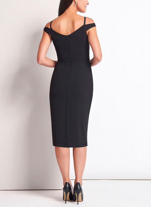 Off The Shoulder Midi Dress, Black, hi-res