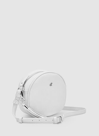 Round Crossbody Bag, White, hi-res,  tassels, spring 2019, faux leather