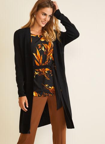 Cardigan long en tricot , Noir,  cardigan, long, manches longues, automne hiver 2020