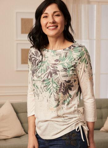 T-shirt motif feuilles de palmier et strass, Vert,  t-shirt, feuilles de palmier, manches 3/4, strass, lien, printemps été 2020