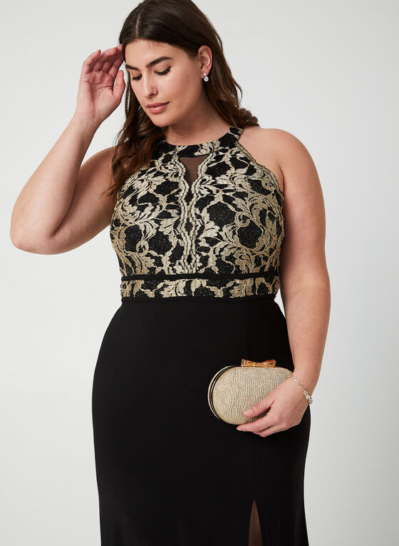 Lace Bodice Jersey Dress , Black, hi-res