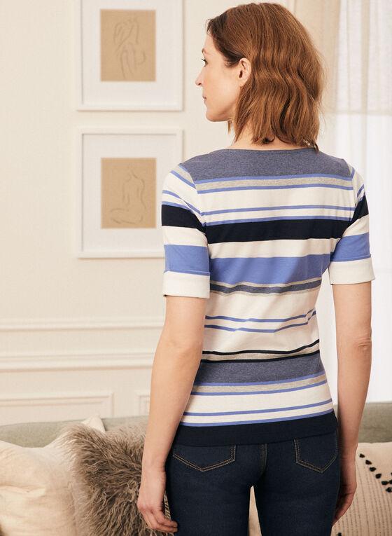 T-shirt rayé à manches coude, Bleu