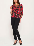 Leaf Print ¾ Sleeve Top, Black, hi-res