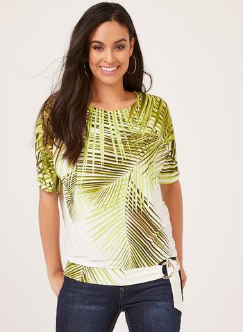 Blouse motif palmier à ourlet fantaisie, Blanc, hi-res