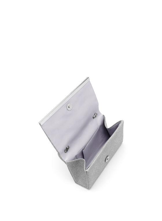Metallic Trim Glitter Flapover Clutch, Silver, hi-res