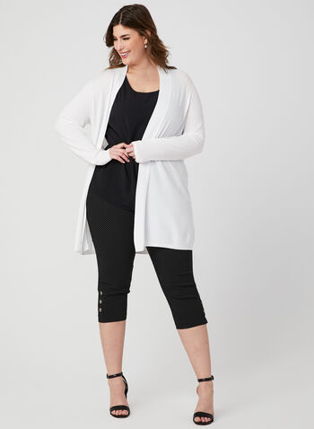 Knit Open Front Cardigan, White, hi-res
