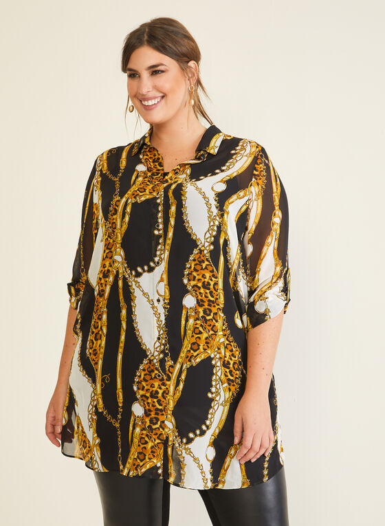 Chain Print Blouse, Black
