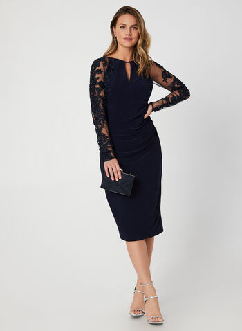 Long Sleeve Appliqué Dress, Blue, hi-res,  fall winter 2019, evening, cocktail, wiggle length, jersey