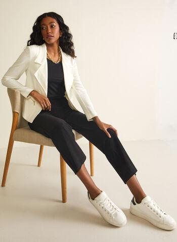 Vex - Blazer ouvert à col cranté, Blanc cassé,  blazer, col cranté, ouvert, manches longues, faux zip, tissu, printemps été 2020