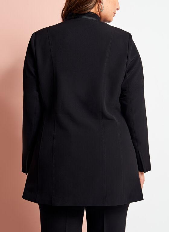 Open Front Single Button Jacket, Black, hi-res