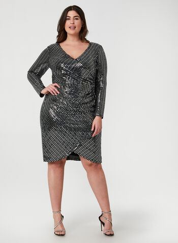Metallic Faux Wrap Dress, Silver, hi-res,  dress, cocktail dress, metallic, sequins, long sleeves, faux wrap, fall 2019, winter 2019