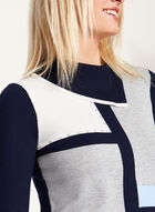 Colour Block Split Collar Studded Sweater, Blue, hi-res