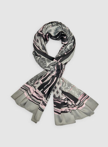 Patchwork Print Scarf, Grey,  scarf, lightweight, patchwork print, fall 2019