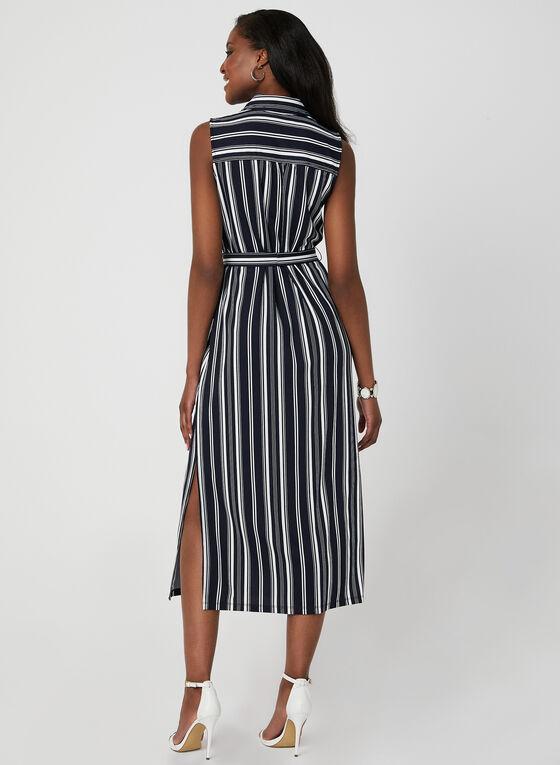 Emma & Michele - Stripe Print Shirt Dress, Blue