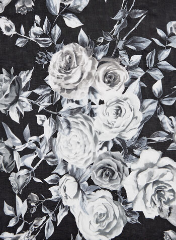 Foulard à motif roses, Noir, hi-res