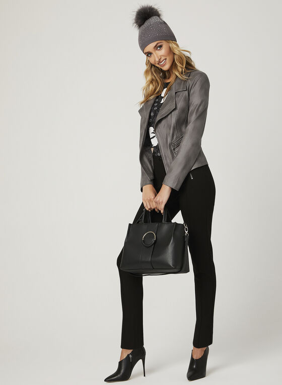 Vex - Open Front Faux Suede Jacket, Grey, hi-res