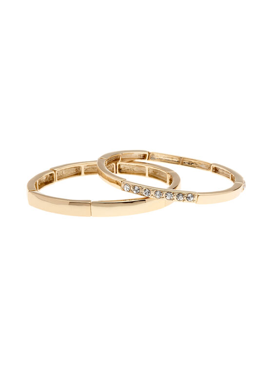 Set of 2 Bangle Bracelets, Gold, hi-res