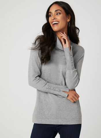 Button Detail Cowl Neck Sweater, Grey, hi-res