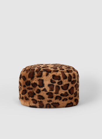 Leopard Print Hat, Brown,  hat, leopard print, faux fur, flat top, fall 2019, winter 2019