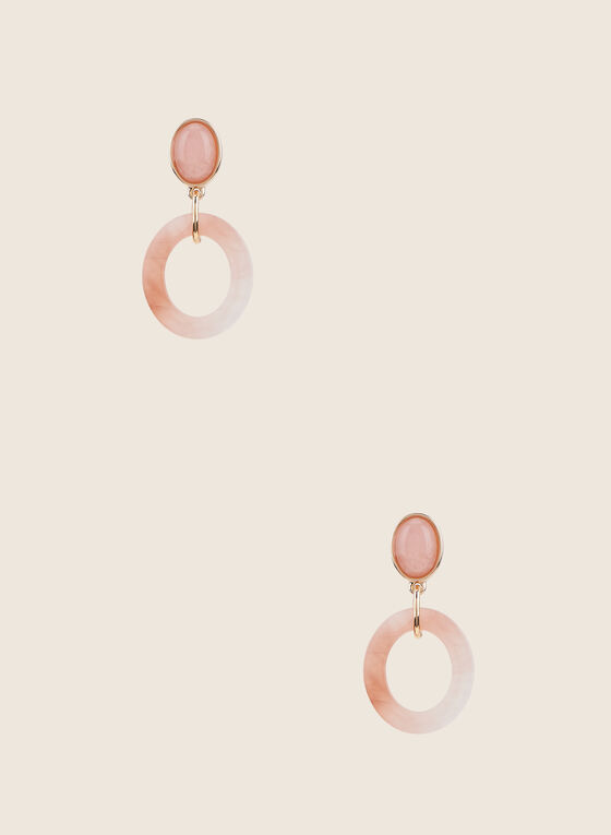Open Ring Dangle Earrings, Off White