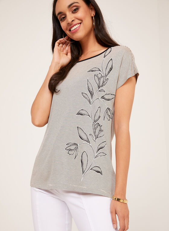 Stripe Print T-Shirt With Floral Appliqué, Brown, hi-res