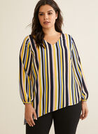 Striped Balloon Sleeve Blouse, Multi