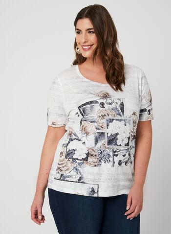 T-shirt à imprimé floral et cristaux, Noir, hi-res
