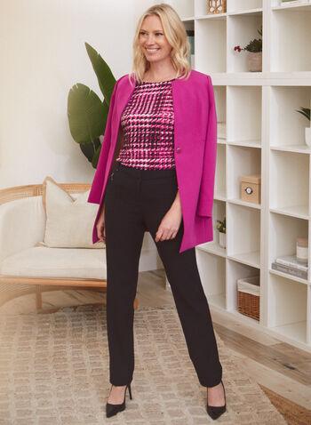 Pantalon coupe moderne à jambe droite, Noir,  pantalon, moderne, jambe droite, poches, pinces, automne hiver 2020