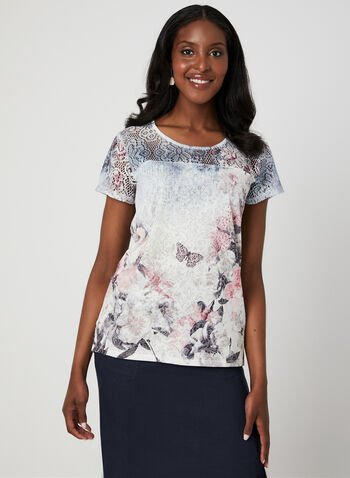 Floral Print Burnout T-Shirt, Blue, hi-res