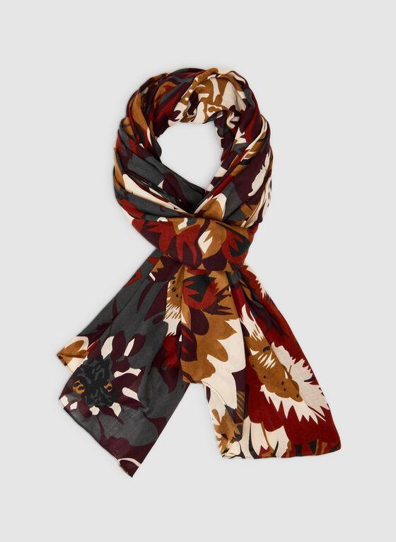 Foulard léger à imprimé floral contrastant, Brun