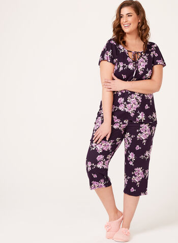 Bellina - Two Piece Capri Pajama Set, Purple, hi-res