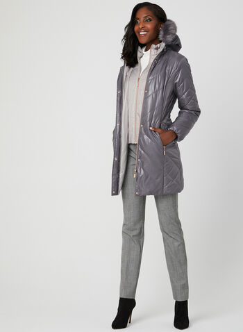 Marcona - Quilted Faux Down Coat, Purple, hi-res,