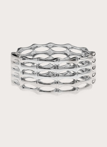 Metal Cutout Bangle, Silver, hi-res