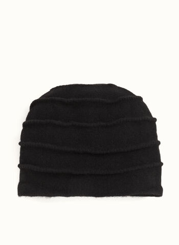Pleated Wool Hat , Black, hi-res