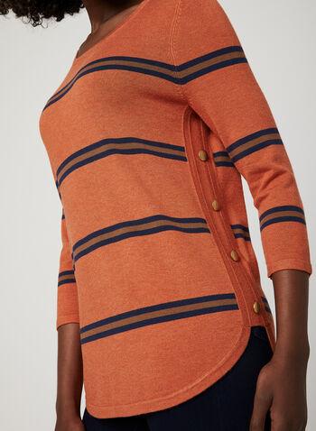 Pull manches ¾ à boutons dorés et rayures, Orange, hi-res