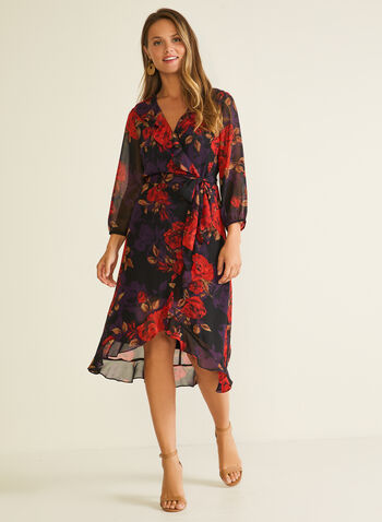 Floral Print Chiffon Dress, Red,  day dress, floral, chiffon, v-neck, ruffled, tulip, balloon sleeves, fall winter 2020