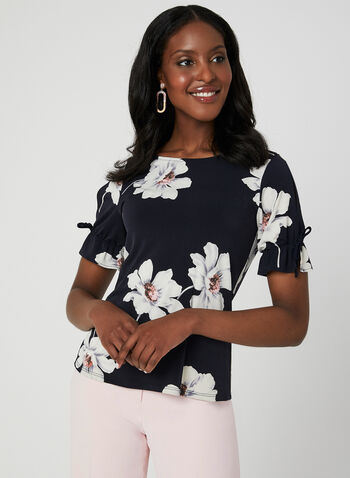 Floral Print Jersey Top, Blue,  short sleeves, scoop neck, cutouts, ruffles, summer 2019