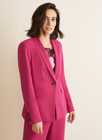 Single-Button Shawl Collar Jacket, Pink,  jacket, blazer, single button, lined, shawl collar, shoulder pads, spring summer 2020