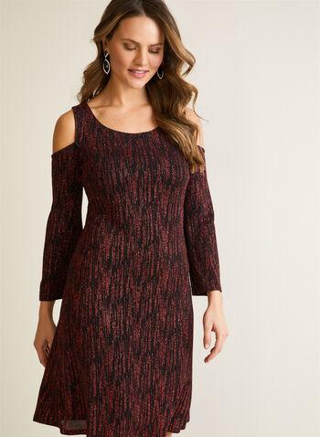 Cold Shoulder Glitter Dress, Black,  dress, cold shoulder, glitter, a-line, evening, cocktail, fall winter 2020