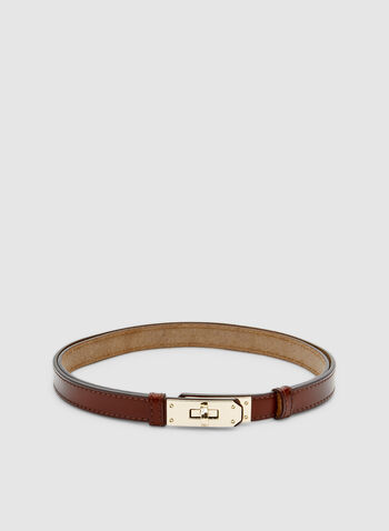 Thin Leather Belt, Brown, hi-res,  leather, metallic, one size, adjustable, fall 2019, winter 2019