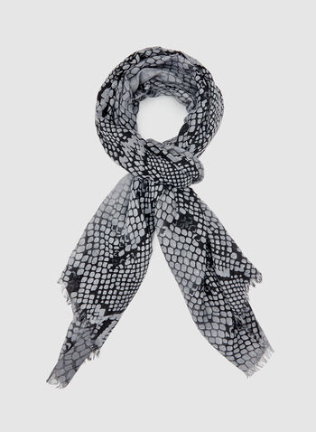 Snakeskin Print Scarf, Grey, hi-res
