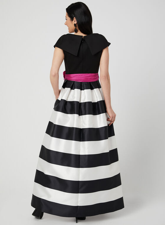 Stripe Print Belted Gown, Black