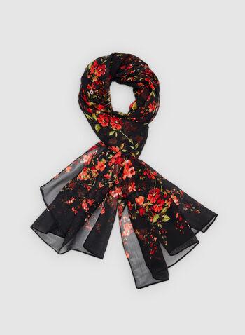 Floral Print Scarf, Black, hi-res