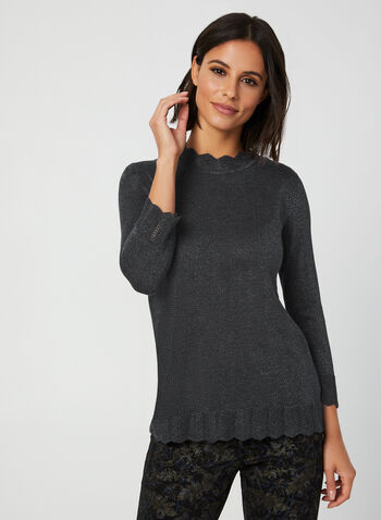 Mock Neck Knit Top, Grey, hi-res,  knit, sweater, 3/4 sleeves, mock neck, fall 2019, winter 2019
