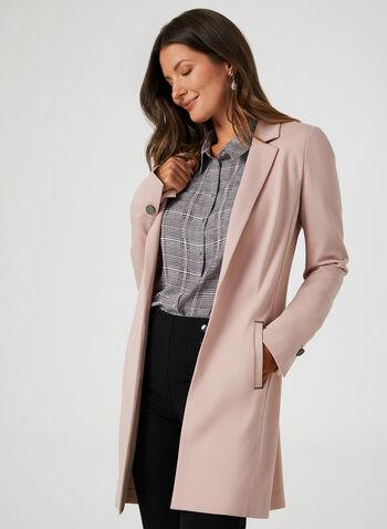 Long Notched Lapel Collar Blazer, Purple, hi-res,  long jacket, edge-to-edge front, long blazer