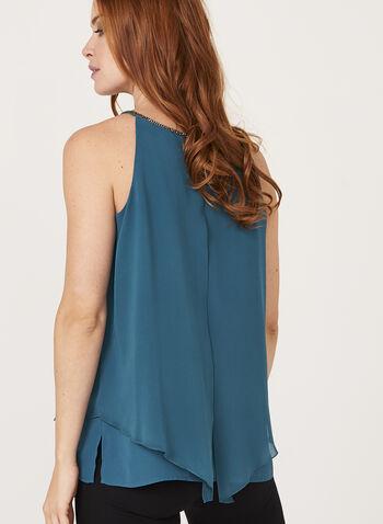 Rhinestone Neck Sleeveless Blouse, Blue, hi-res
