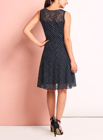 Dot Print Lace Fit & Flare Dress, , hi-res
